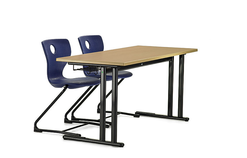 Contemporary Table Metal Rectangular For Schools Duo