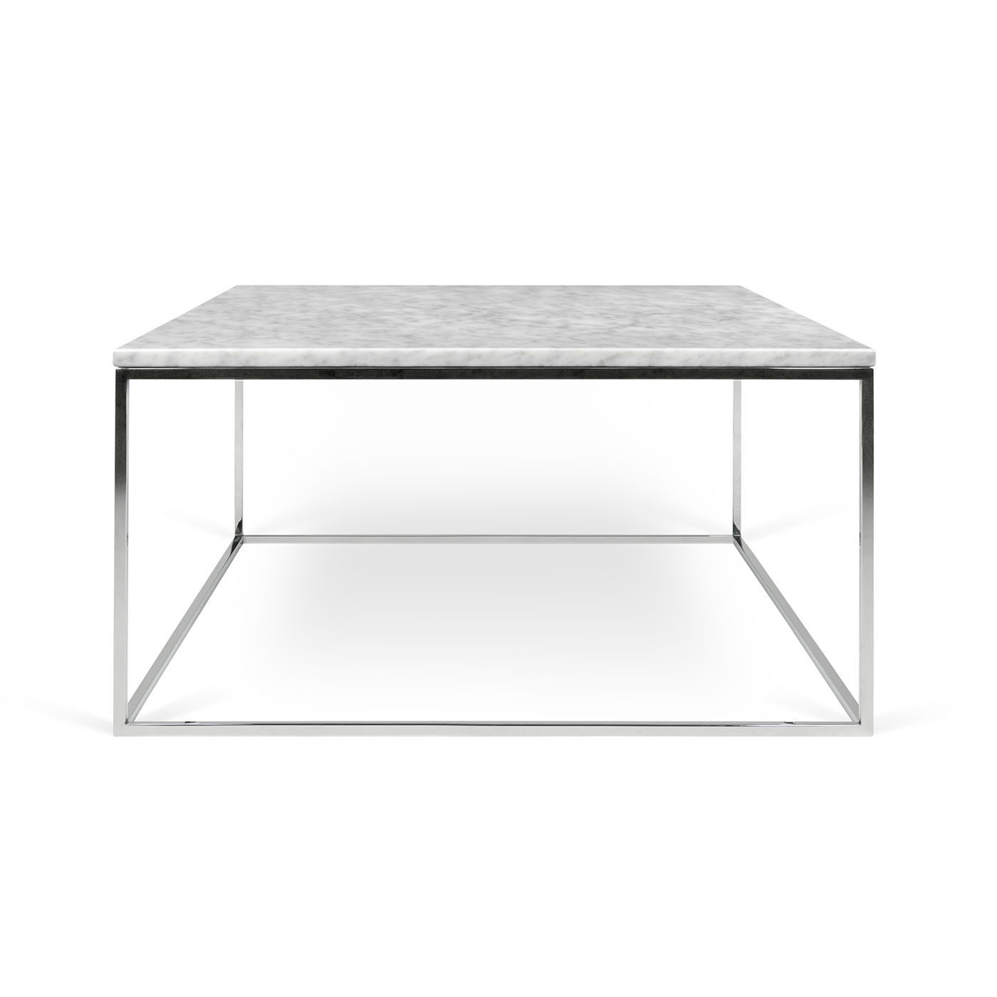 Contemporary Coffee Table Chrome Steel Marble Square Gleam