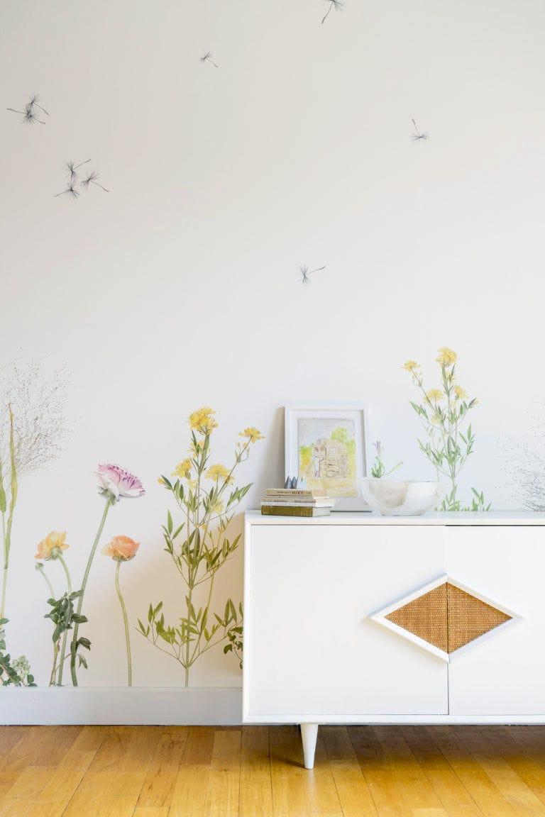 Contemporary Wallpaper Floral Pattern Handmade Fire