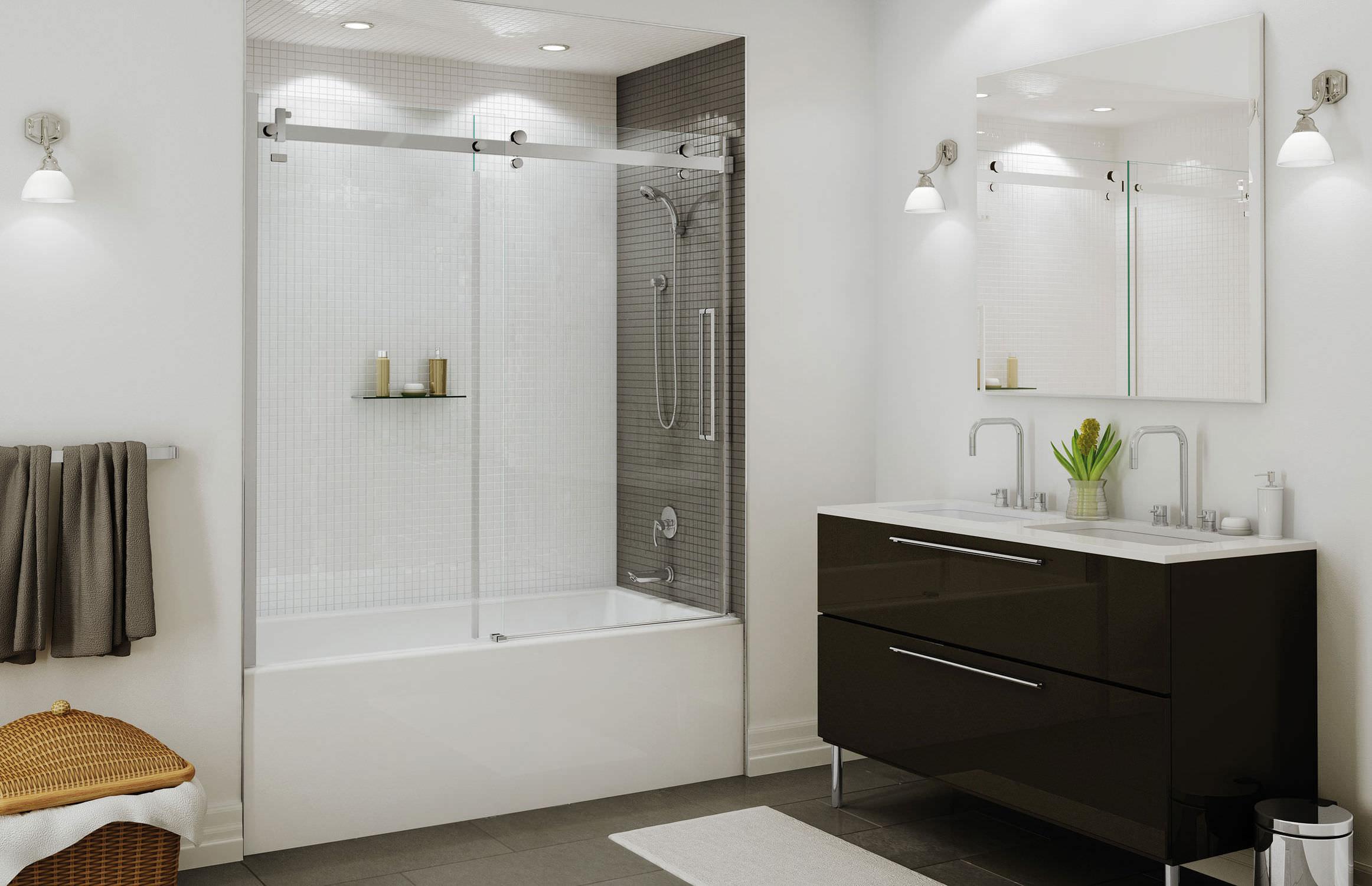 Sliding Bath Screen Tempered Glass Halo Maax Bathroom