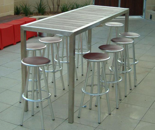 Contemporary High Bar Table Wooden Stainless Steel Rectangular