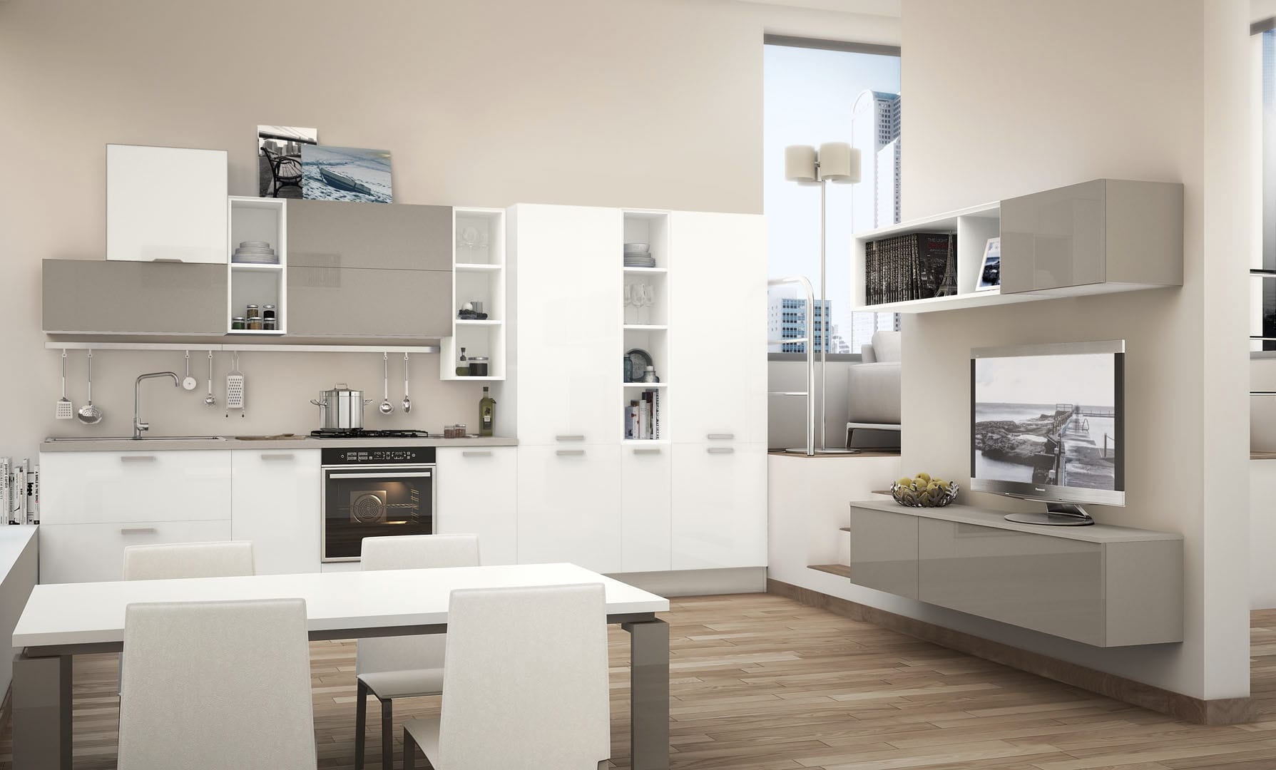 Cucina Noemi Lube.Contemporary Kitchen Wooden Lacquered Matte Noemi