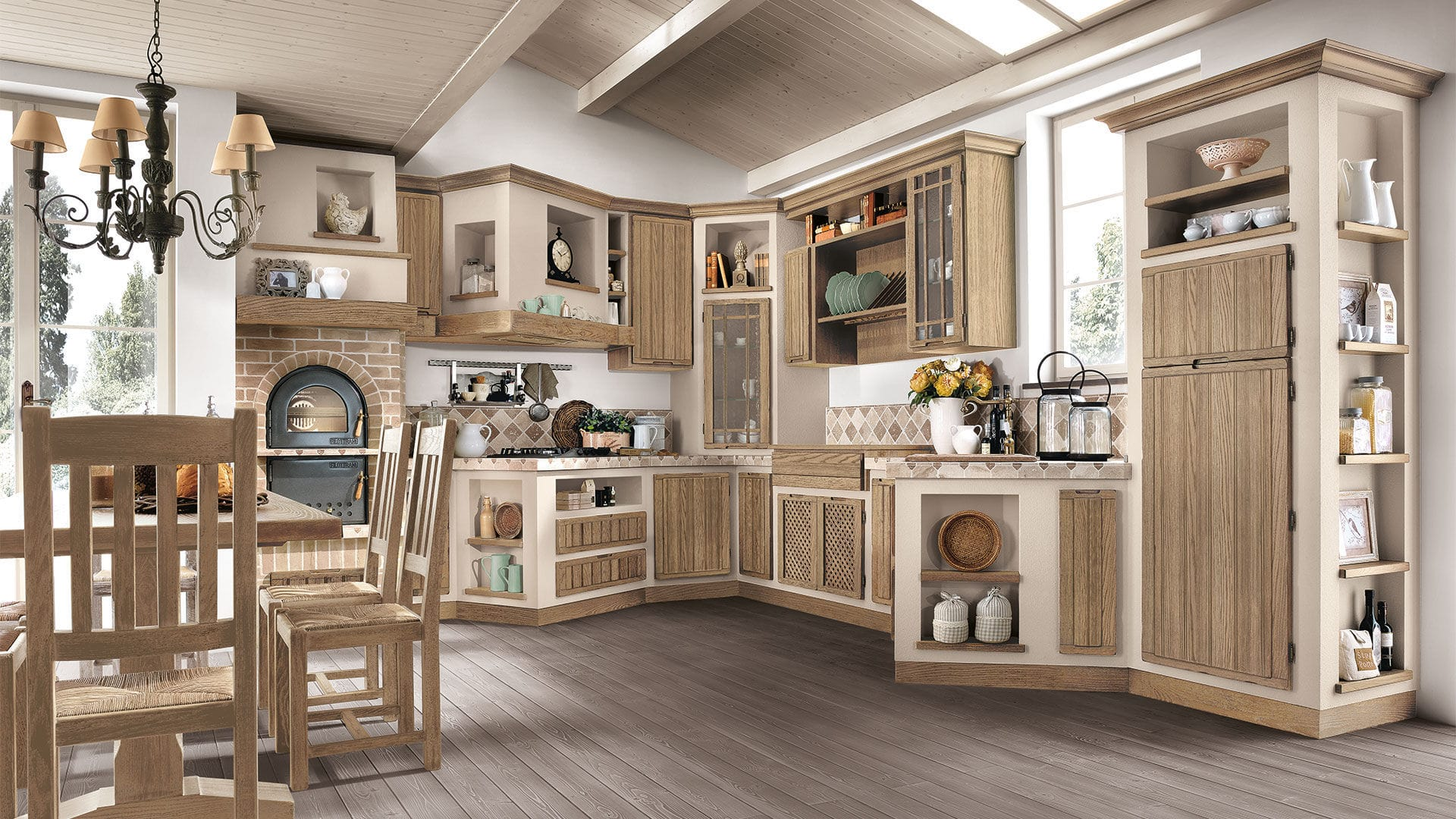 Traditional kitchen / ash / lacquered / with integrated ...