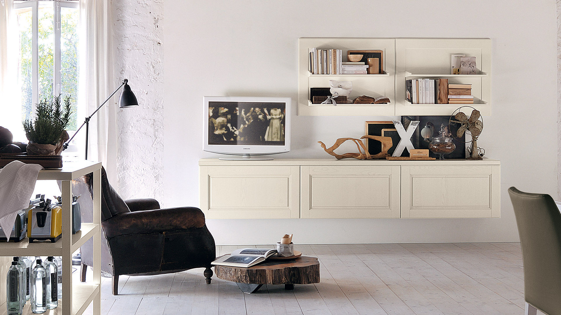 Traditional Tv Wall Unit Wooden Agnese Cucine Lube