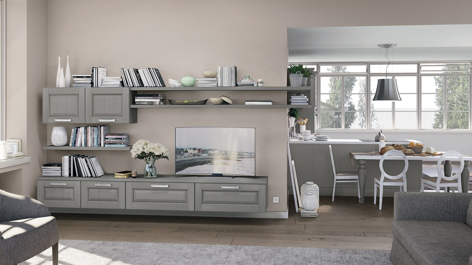 Traditional Tv Wall Unit Wooden Laura Cucine Lube