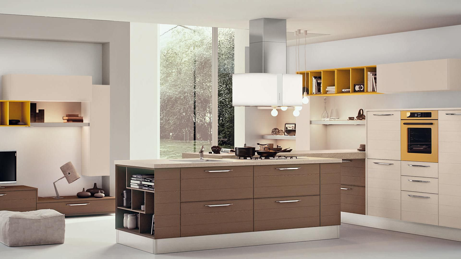 Contemporary Kitchen Wood Veneer Island Lacquered Adele Cucine Lube