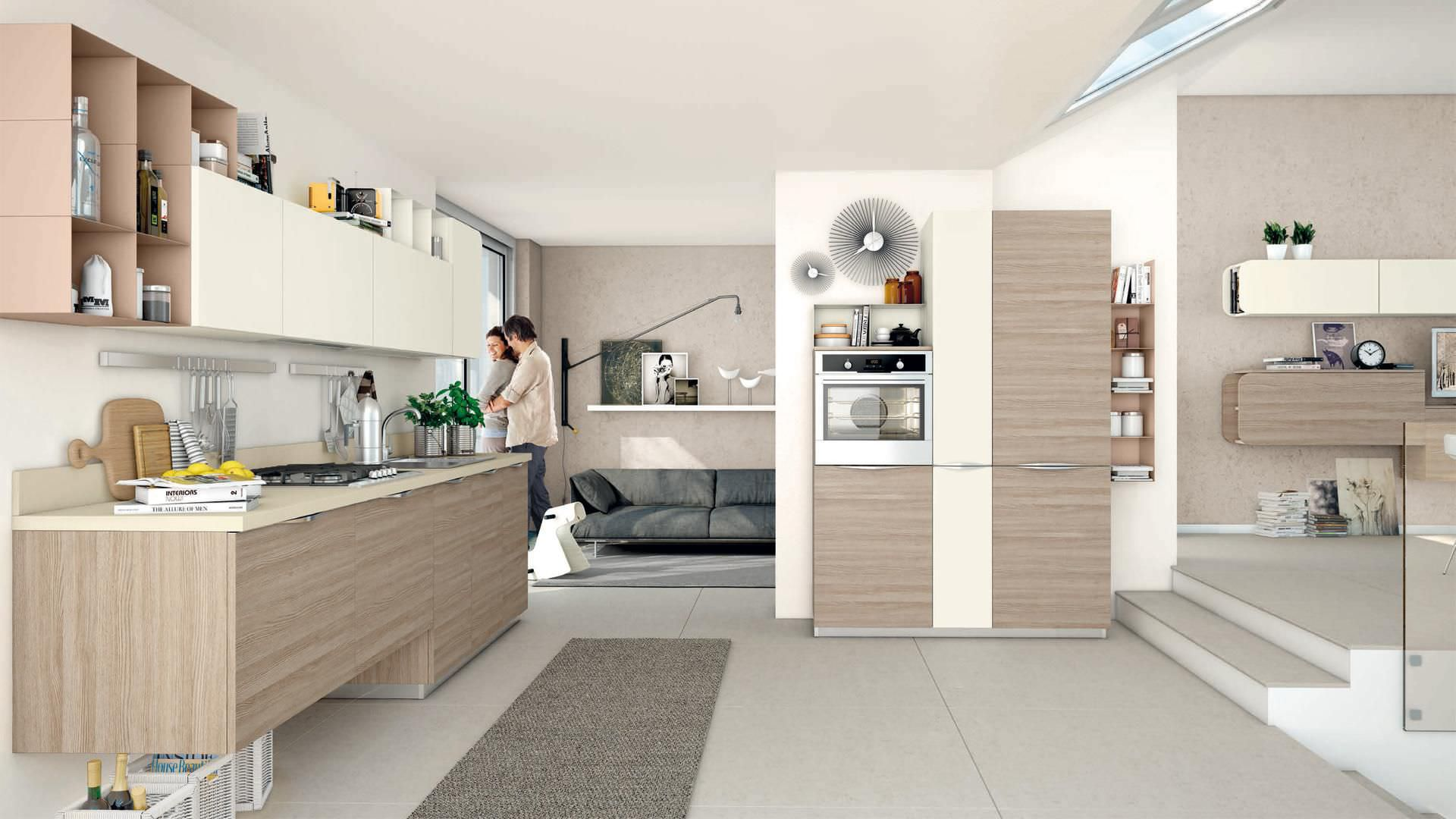 Contemporary Kitchen Immagina Cucine Lube Wood Veneer Lacquered With Handles