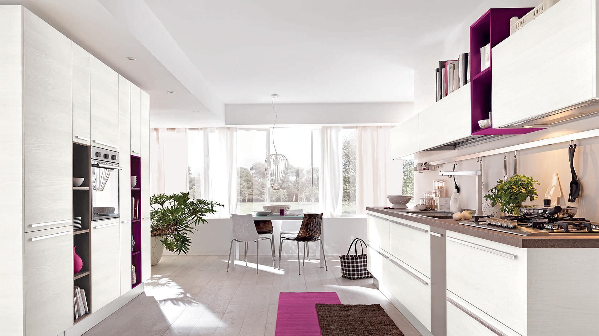 Cucina Noemi Lube.Contemporary Kitchen Wooden Lacquered Matte Noemi Cucine Lube
