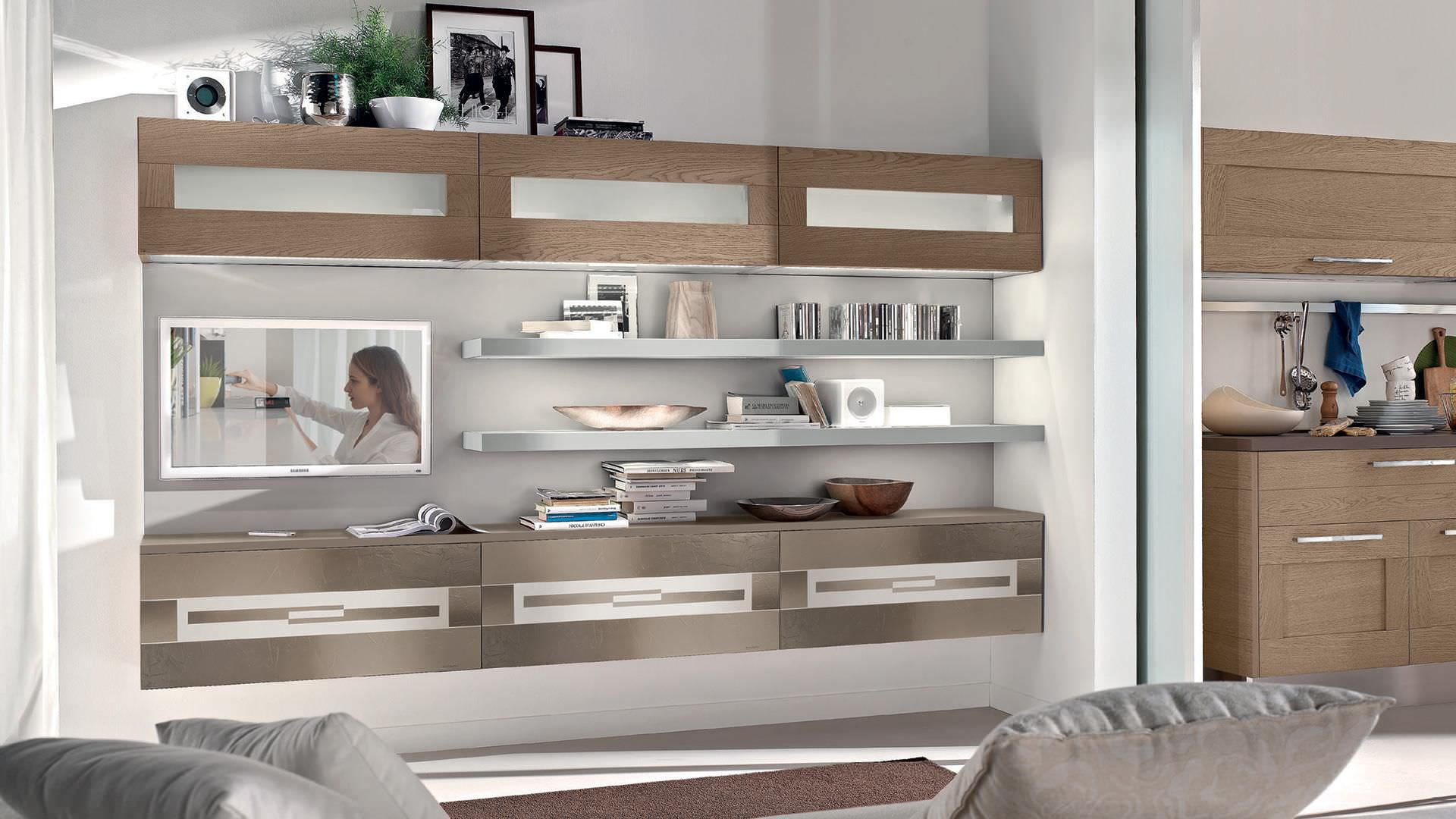 Contemporary Living Room Wall Unit Gallery Cucine Lube Lacquered Wood