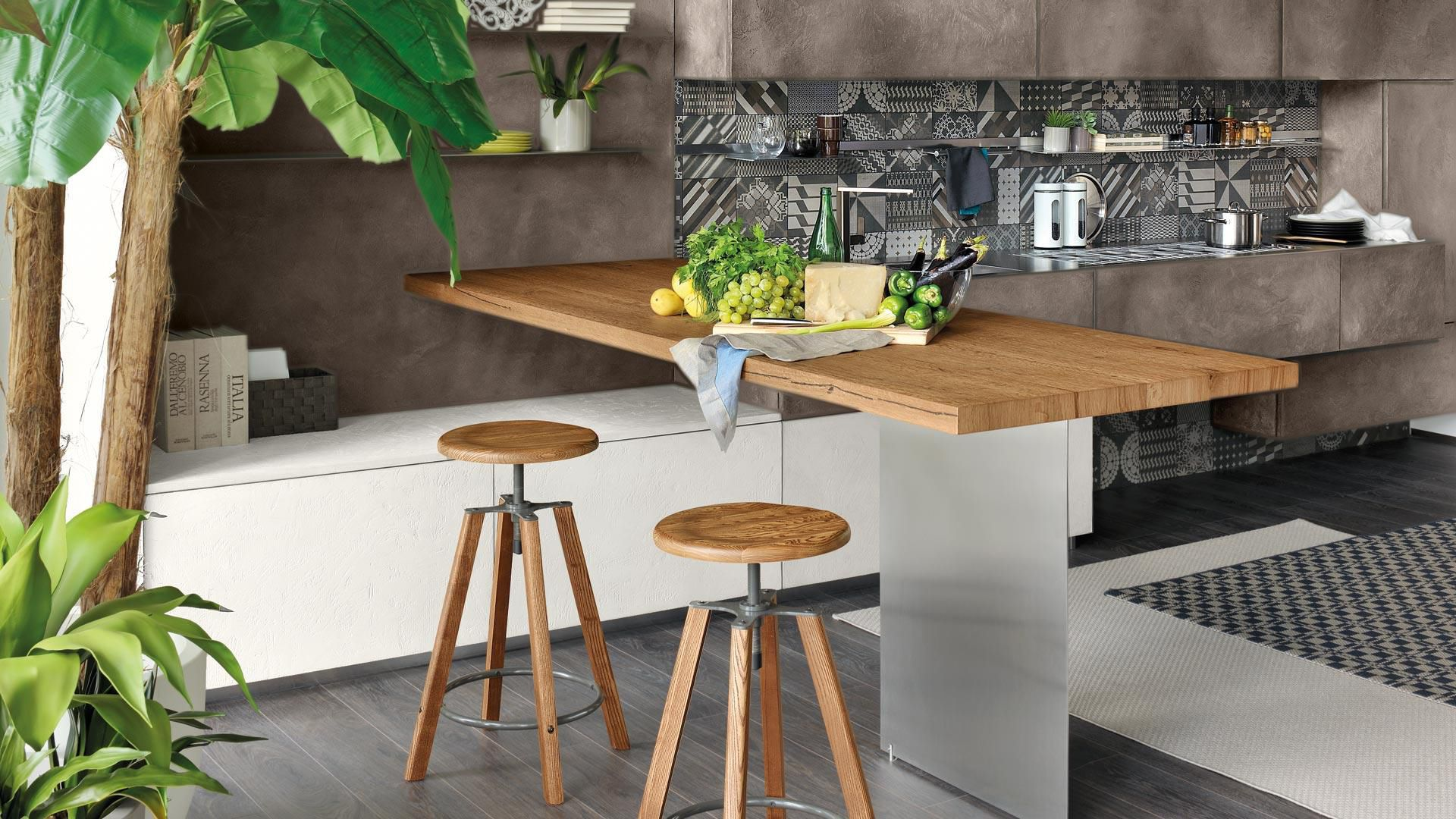 Sgabelli Per Cucina Lube.Contemporary Kitchen Wooden Aluminum Handleless