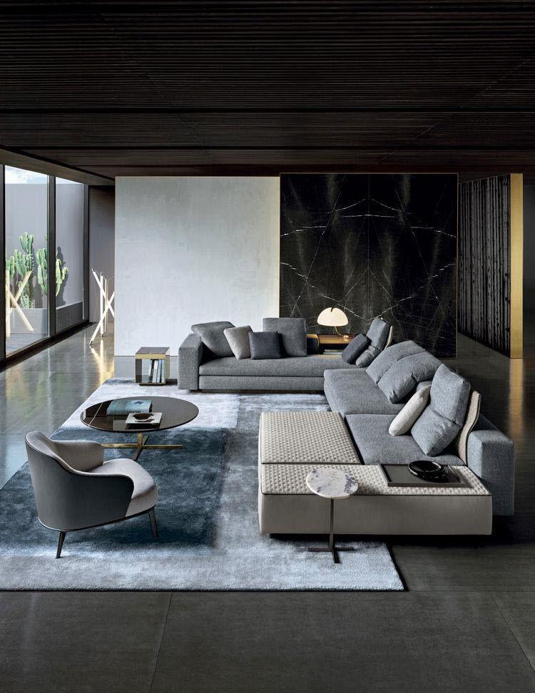 Modular Sofa Contemporary Fabric Leather Yang Minotti