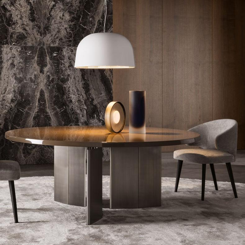 Contemporary Table Oak Bronze Round Morgan Minotti