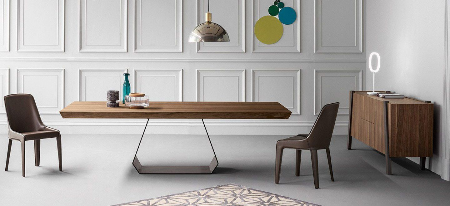 Contemporary Dining Table Wooden Gl Metal Amond By Gino Carollo