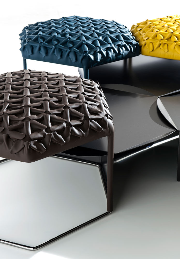 Sensational Contemporary Ottoman Steel Leather Modular Hive By Ncnpc Chair Design For Home Ncnpcorg