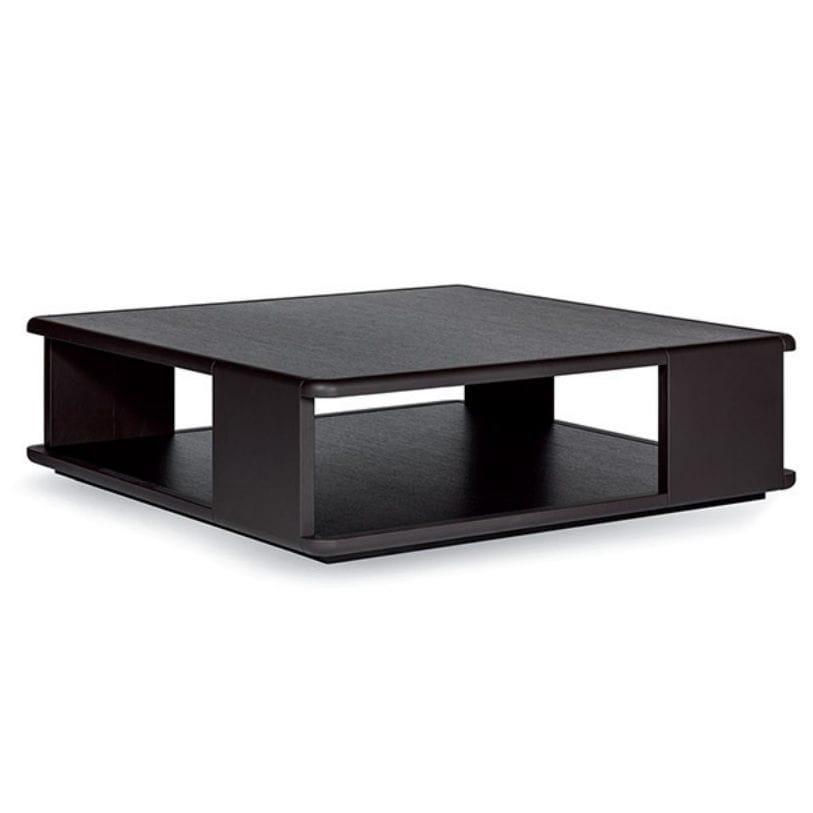 Contemporary Coffee Table Leather Oak Square Gari Giorgio