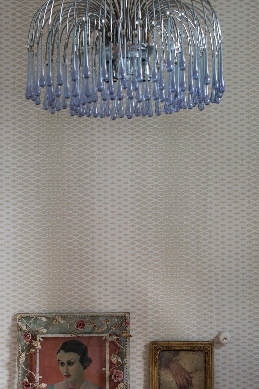 Contemporary Wallpaper Fabric Geometric Gray Lattice