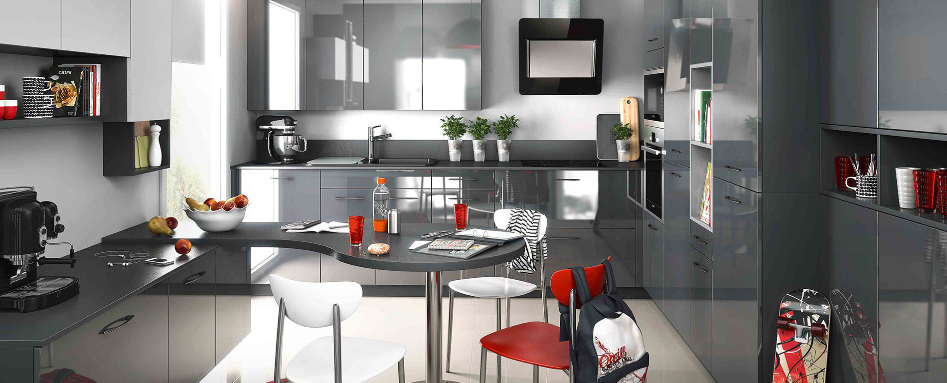 Cuisine Low Cost Mobalpa contemporary kitchen / laminate / u-shaped / high-gloss