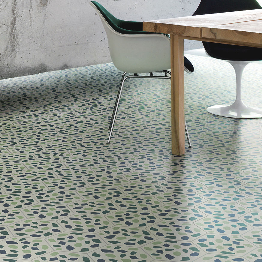 Indoor Encaustic Cement Tile Floor Hexagonal Geometric Pattern Grit By Tom Dixon