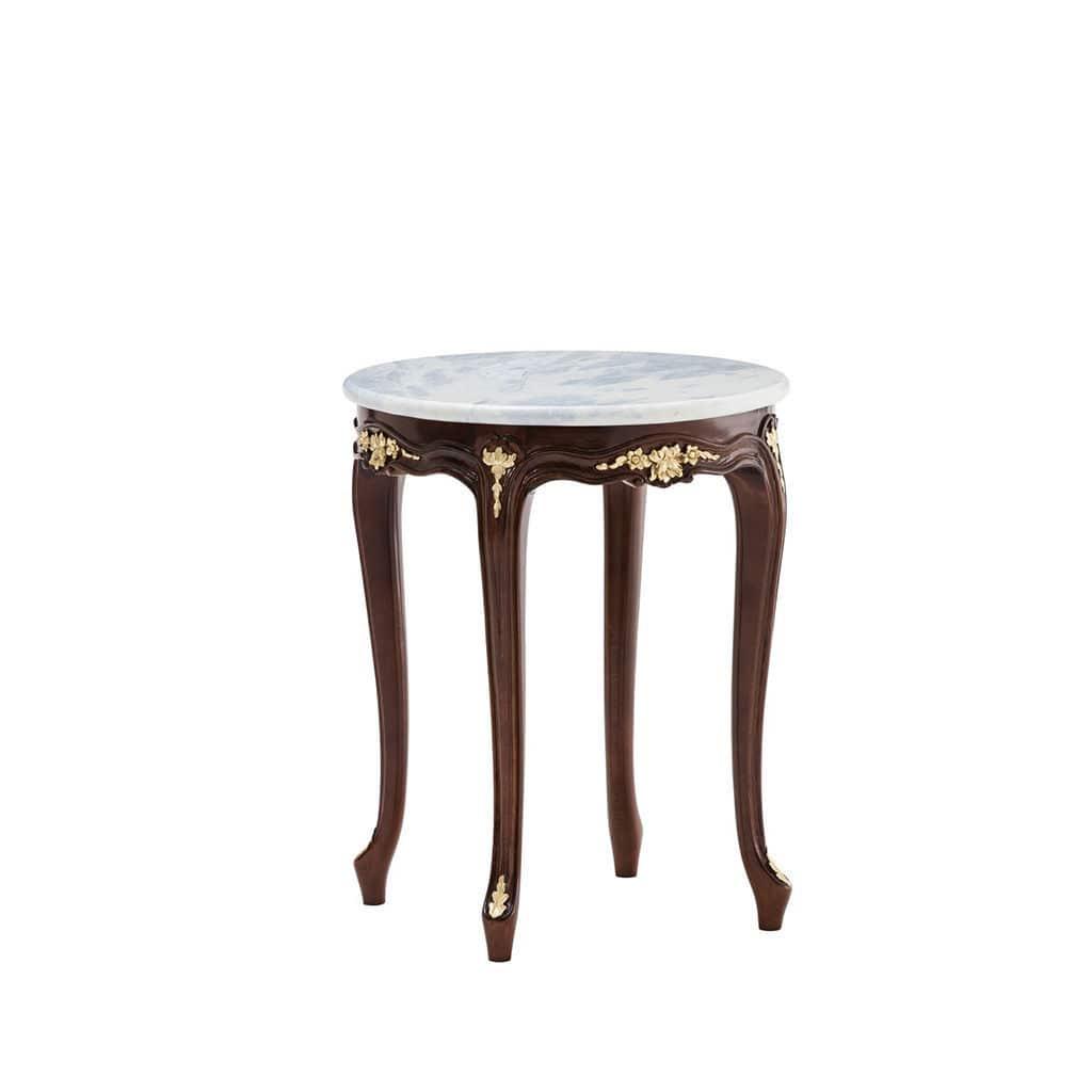 Woood Sidetable Job.Traditional Side Table Marble Mahogany Round 5034tv