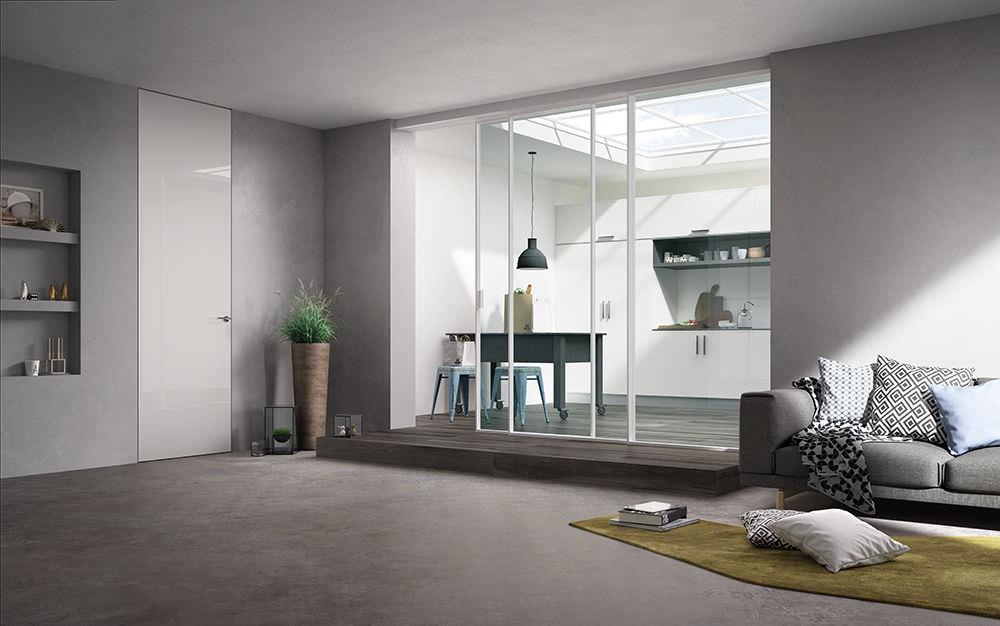 Porta Scorrevole A Tre Ante.Interior Door Delineo 3 Ante Profilo Bianco Cristallo