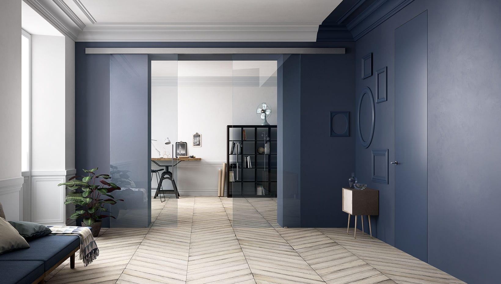 Porte Scorrevoli 4 Ante.Indoor Door Sliding Glass Double Visio 4 Ante Ferrerolegno
