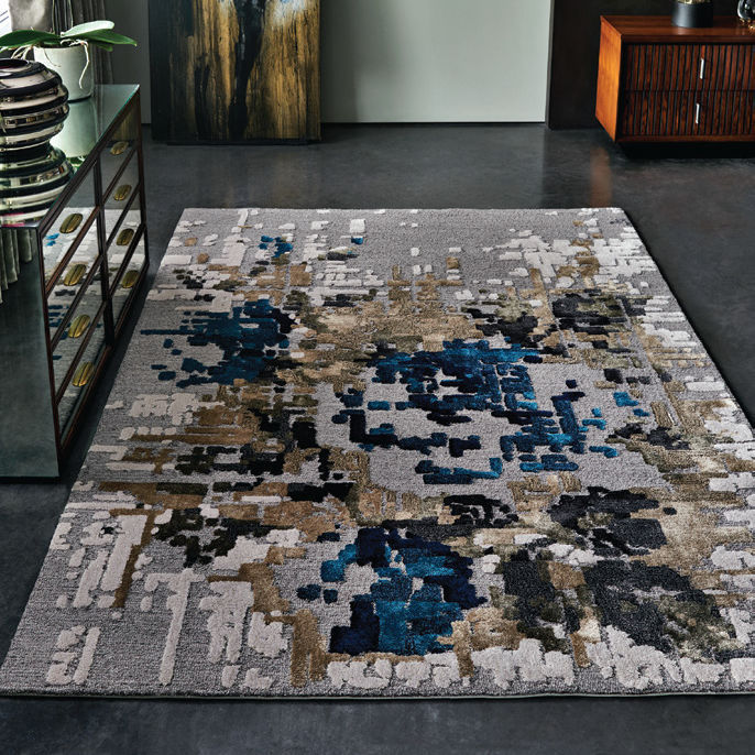 Contemporary Rug Fl Pattern Wool Viscose