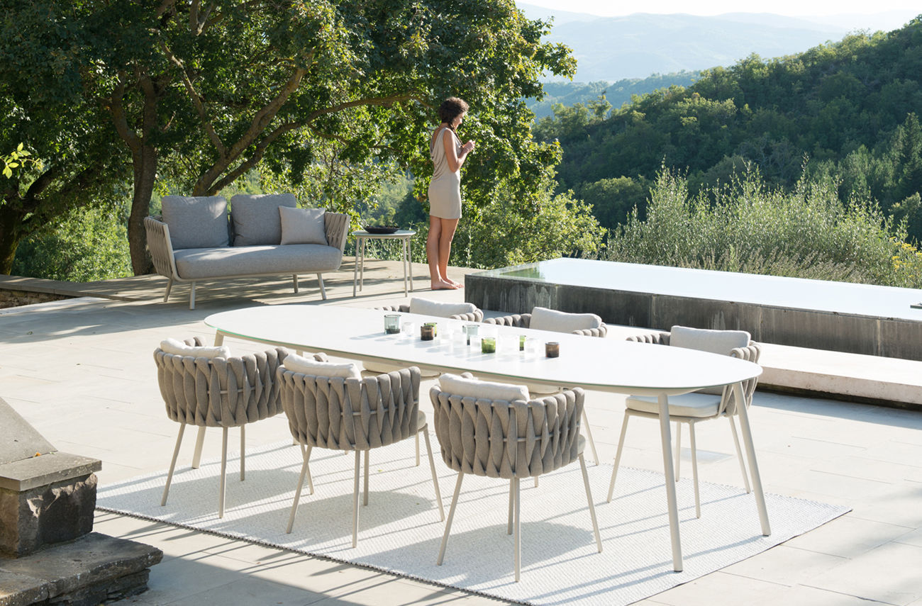 Ideal Contemporary dining table / glass / ceramic / stainless steel  UK81