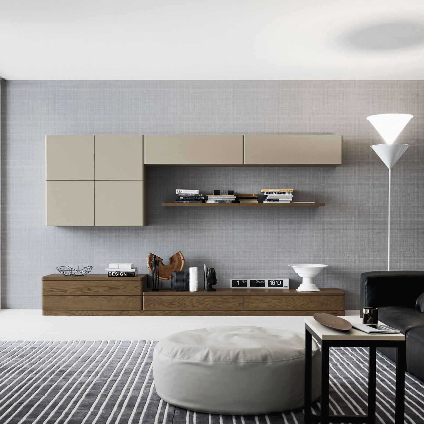 Contemporary living room wall unit / lacquered wood / oak ...