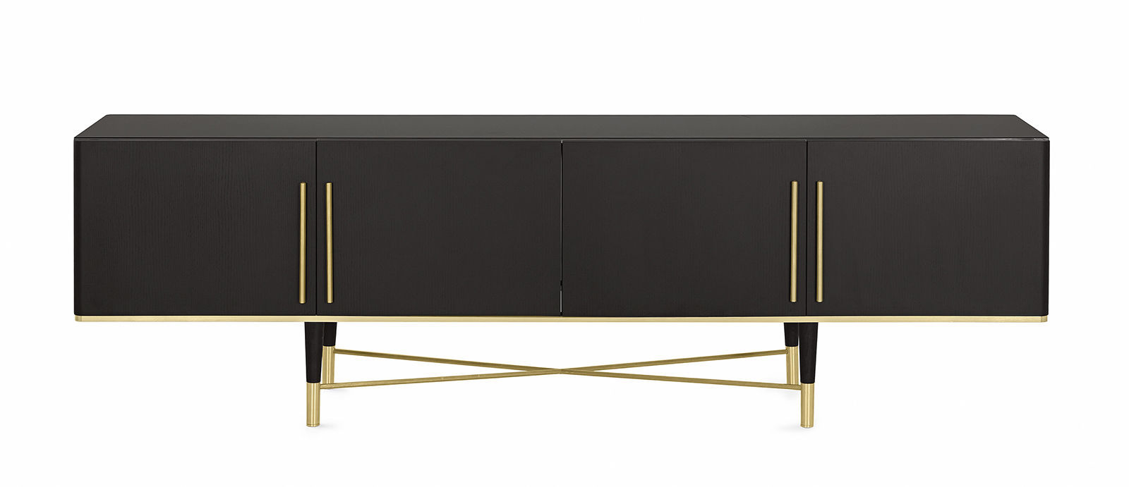Contemporary Sideboard Tama Credence Gallotti Radice Wooden With Shelf Black