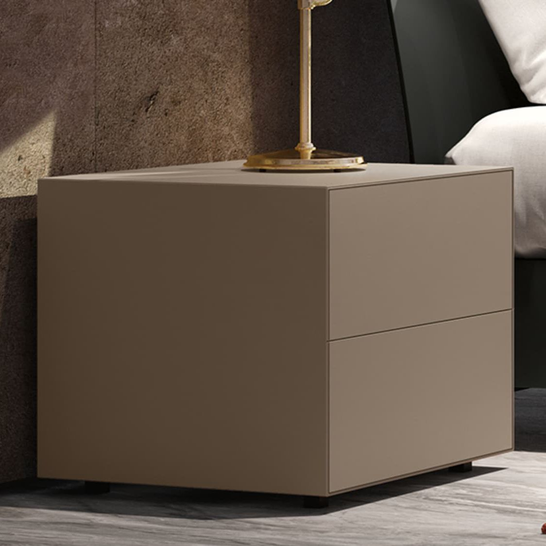 Picture of: Contemporary Bedside Table Gala 02 Febal Casa Lacquered Wood Square With Drawer