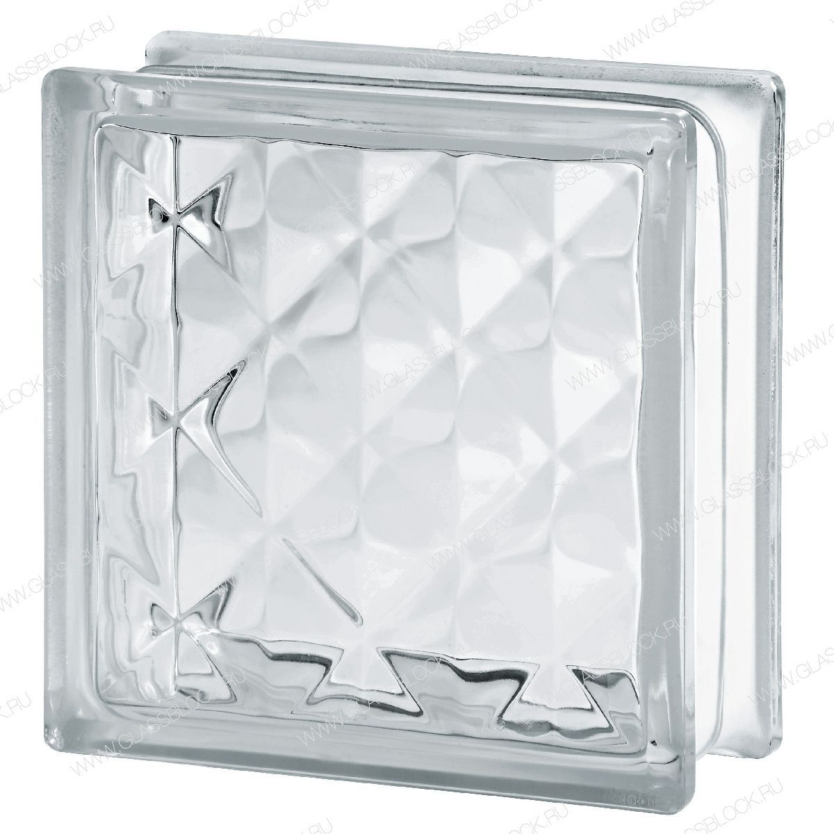 Square Glass Brick Basic Clear 1919 8 Pyramid Seves Glassblock Embossed Wall Mounted High Light Transmission