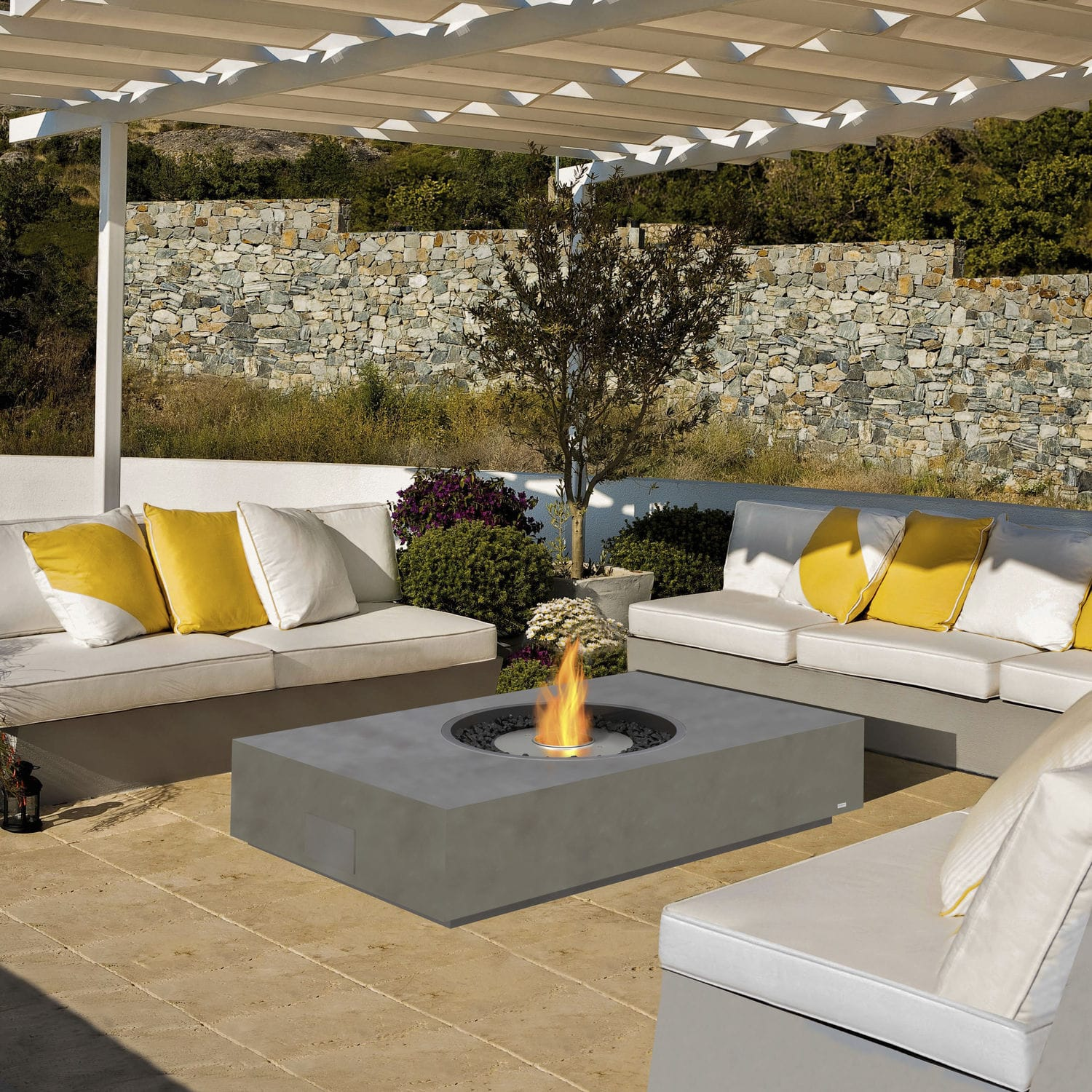 Bioethanol Fire Pit Stainless Steel Concrete Martini