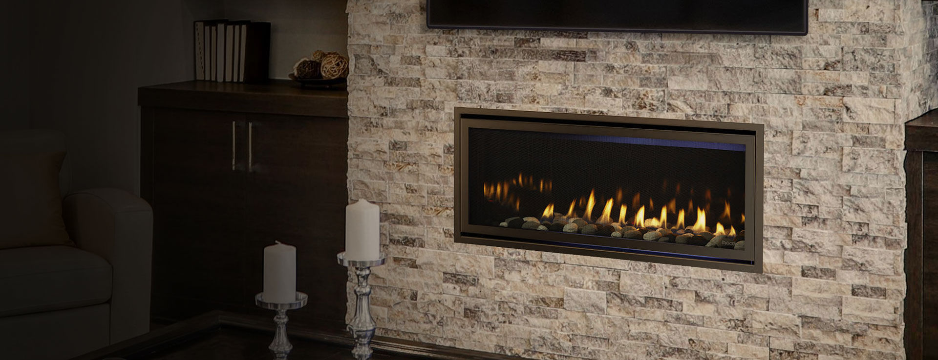 Gas Fireplace Contemporary Closed Hearth Built In