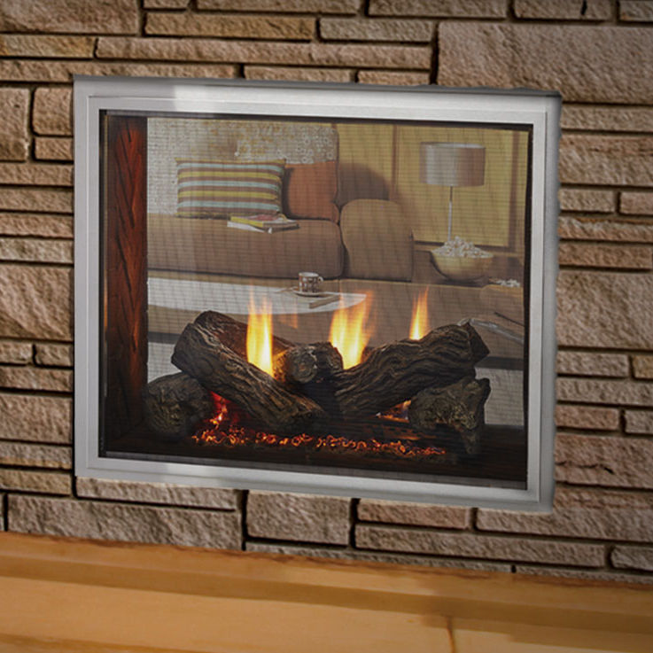 Gas Fireplace Traditional Closed Hearth Double Sided