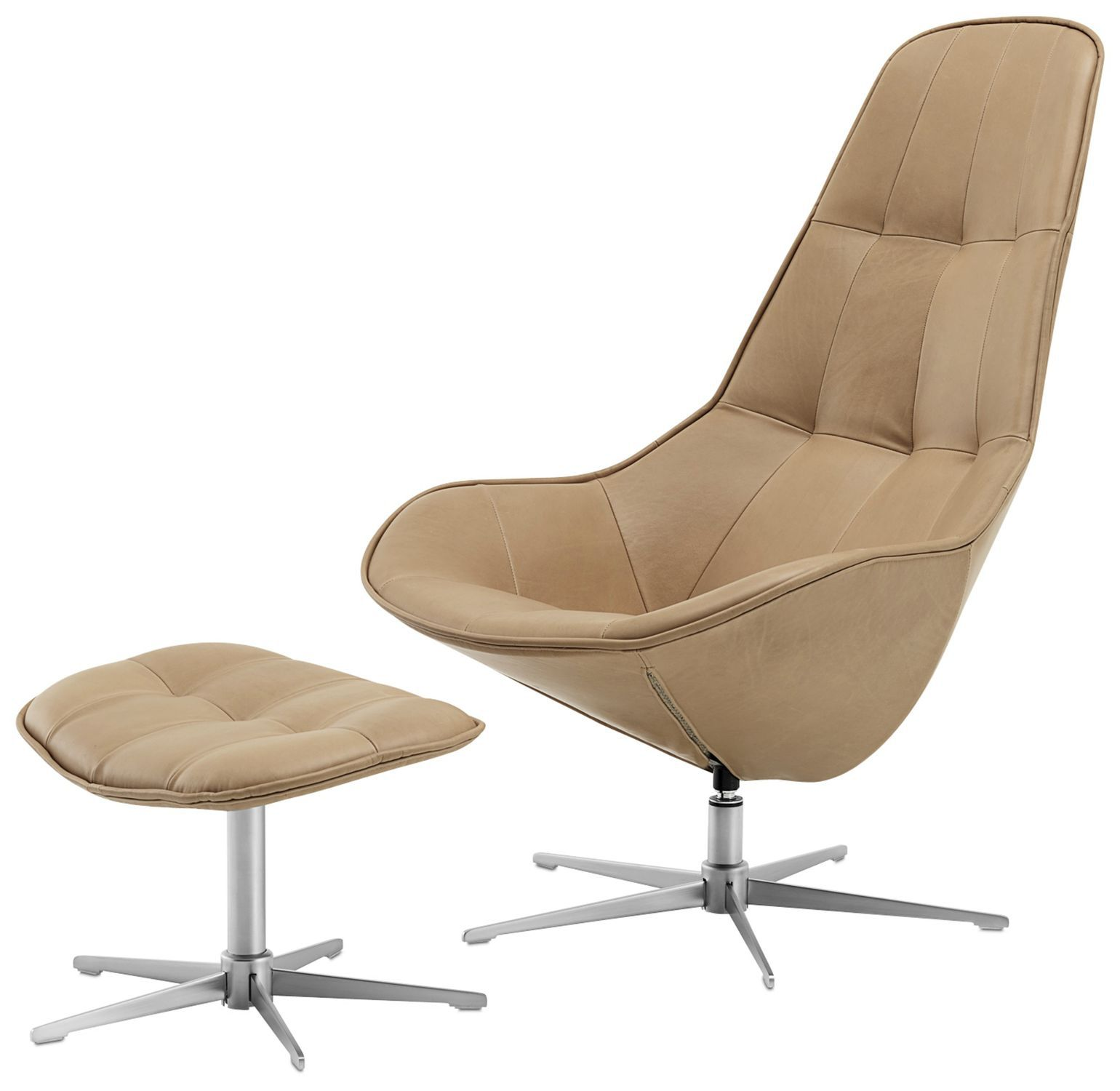 Contemporary Armchair Fabric Leather Steel