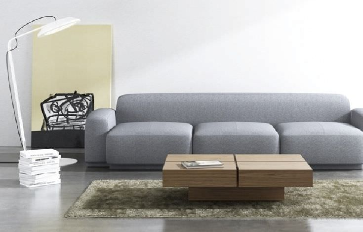 Contemporary Coffee Table Wooden Square With Storage Compartment