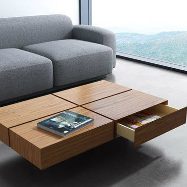 Contemporary Coffee Table Wooden Square With Storage