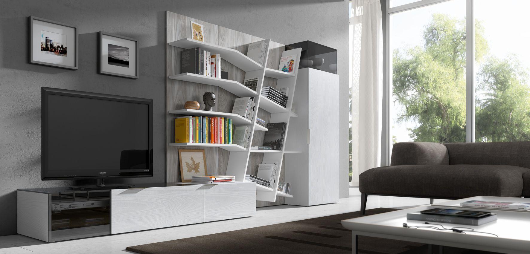 Contemporary Tv Wall Unit Lacquered Wood Hi Fi Iline 1  # Muebles Piferrer Iline