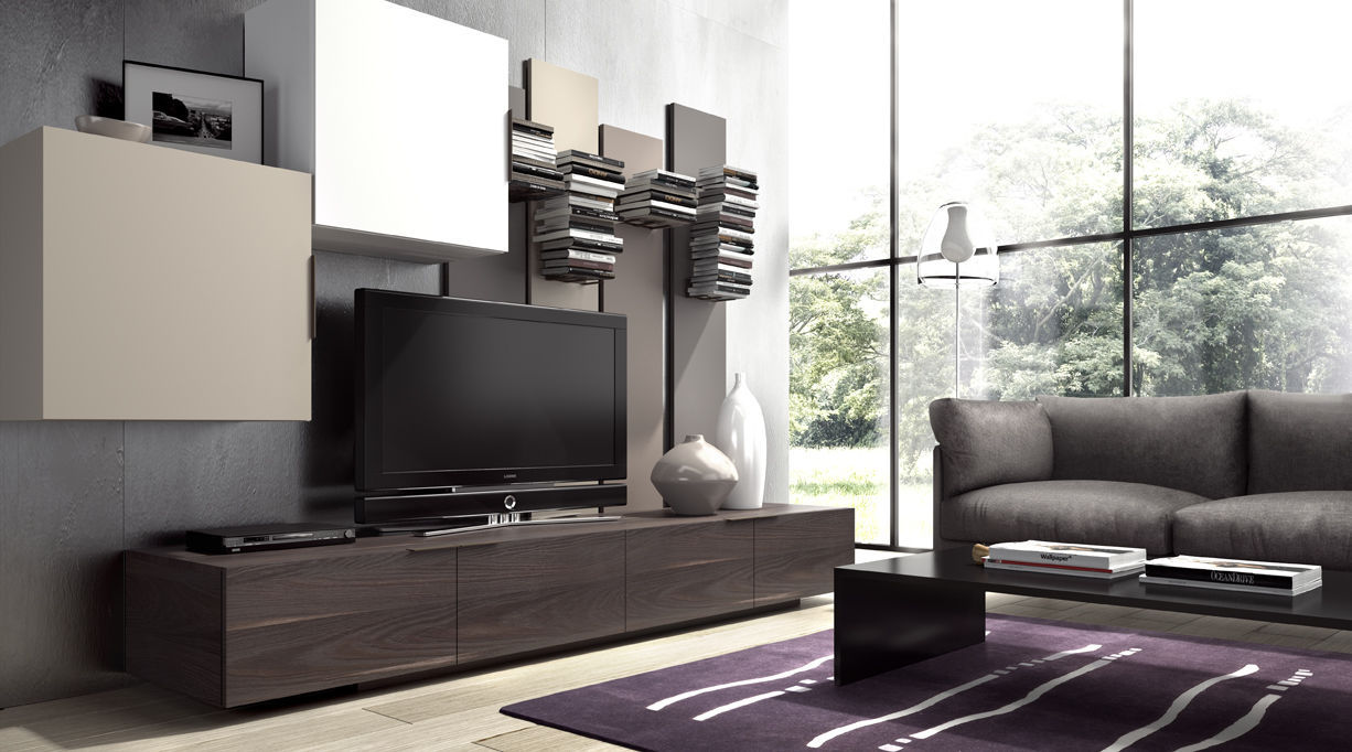 Contemporary Tv Wall Unit Wooden Iline 7 Piferrer # Muebles Piferrer Iline