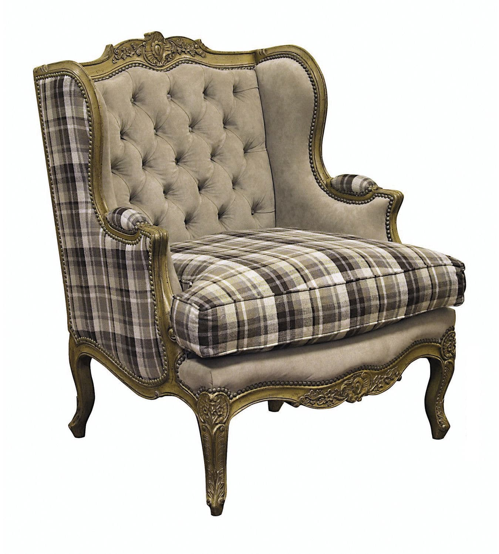 Louis Xv Style Armchair Fabric Wing Bergere Carmen