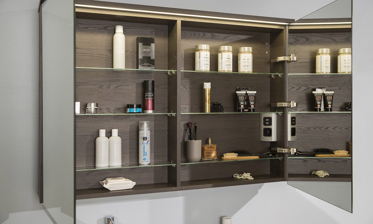 Contemporary Bathroom Cabinet Standard Elevated Alke Wooden Wall Mounted With Mirror