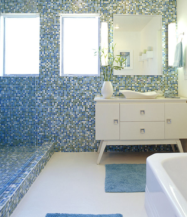 Indoor Mosaic Tile Bathroom Wall Gl Opal Blends