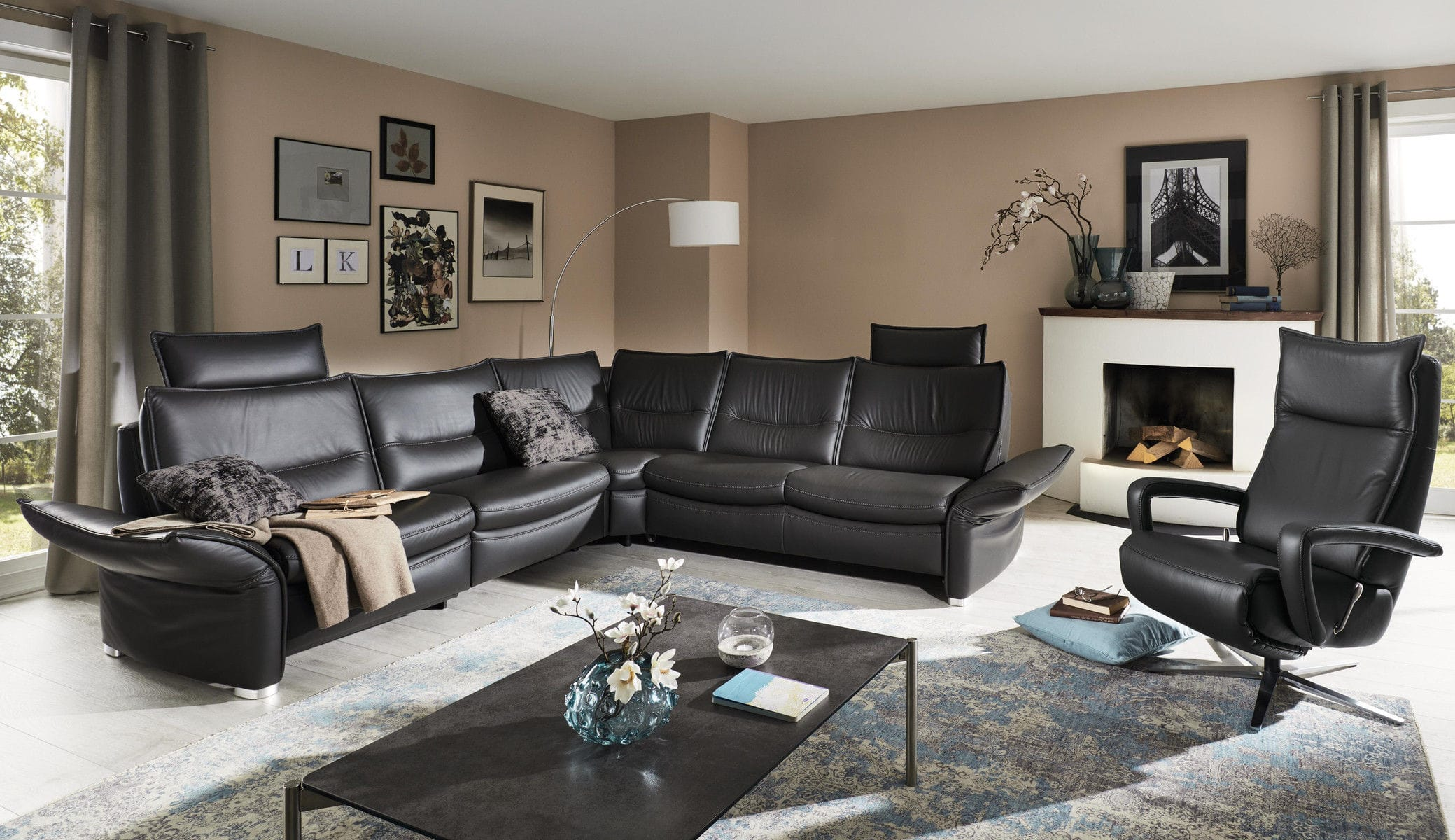 Convertible Sofa Mr 250 Musterring Contemporary Leather Brown