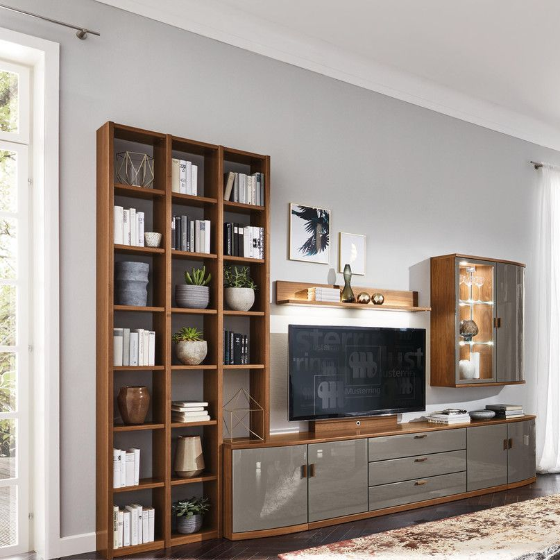 Contemporary Tv Wall Unit Lacquered Wood Kira System Musterring