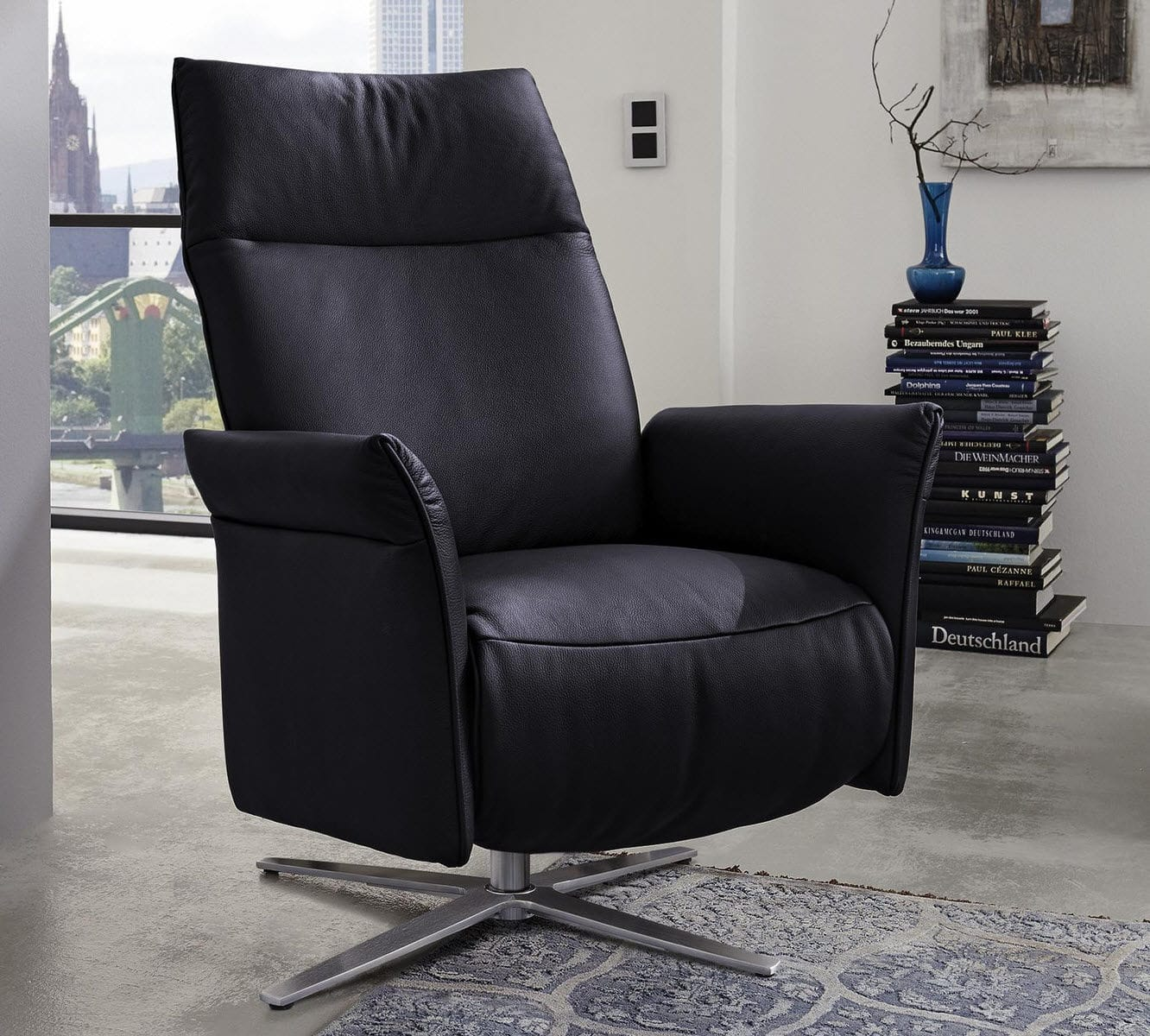 Contemporary Armchair Leather Stainless Steel Mr 6071