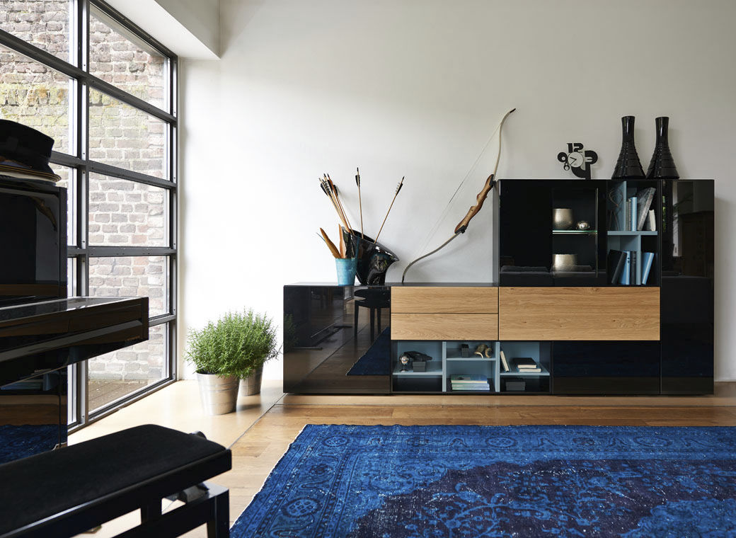 High Sideboard Contemporary Lacquered Wood Oak Now