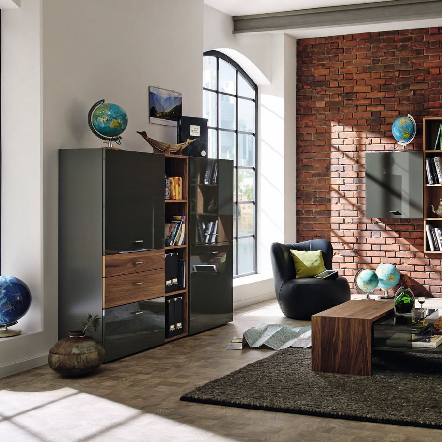High Sideboard Contemporary Lacquered Wood Walnut Now No14 980008 Now By Hülsta