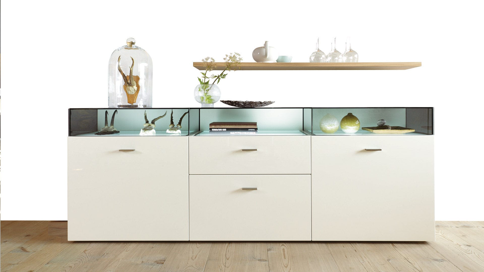 Contemporary Sideboard Glass Glossy Lacquered Wood Now No14 39425 Now By Hülsta