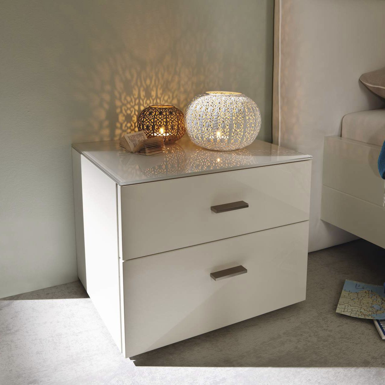 Contemporary Bedside Table Glossy Lacquered Wood Rectangular With Drawer Now No 14 3312 Now By Hulsta