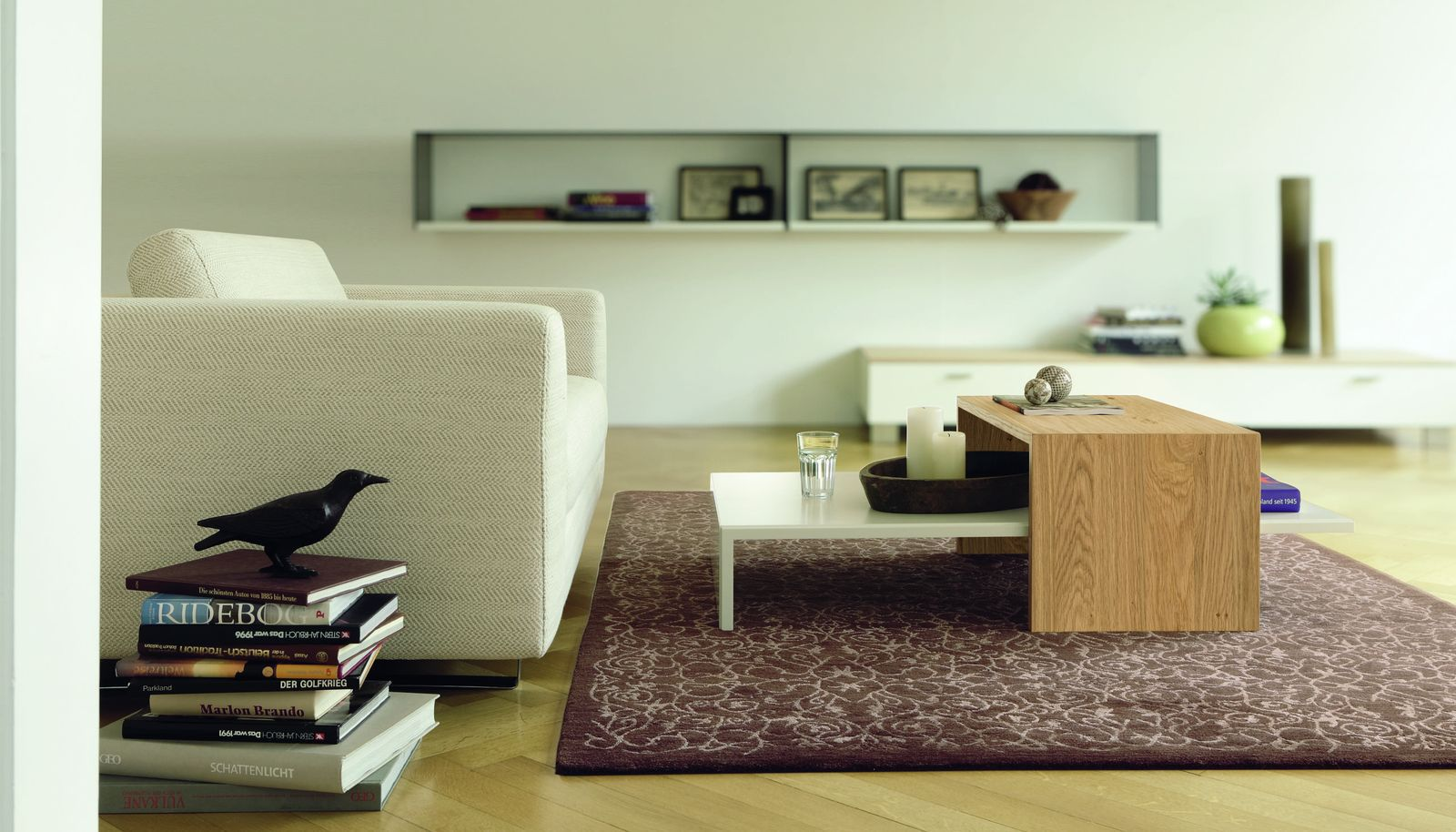 Contemporary Coffee Table Glass Oak Lacquered Wood